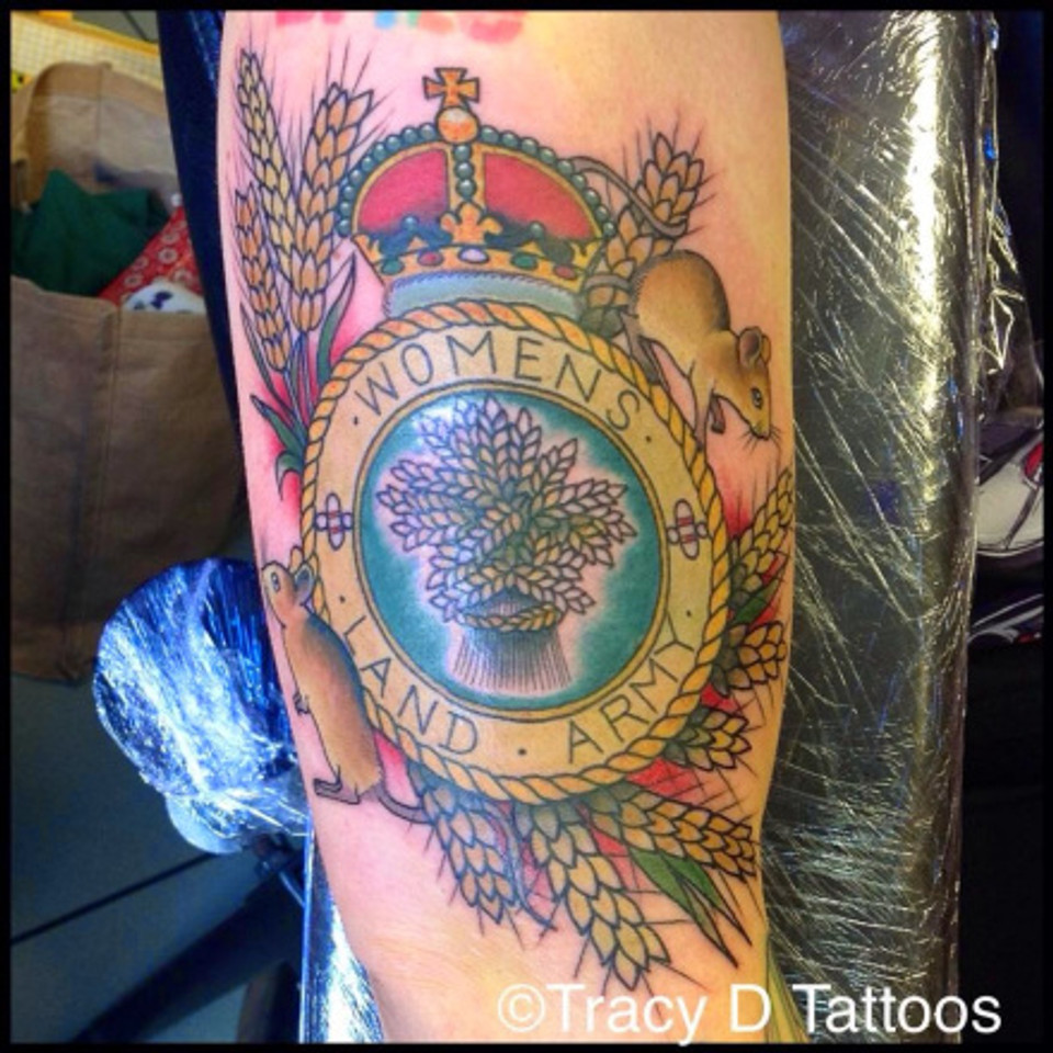 This tattoo adorns the body of the President of the Cambridge Blue Belles WI, UK
