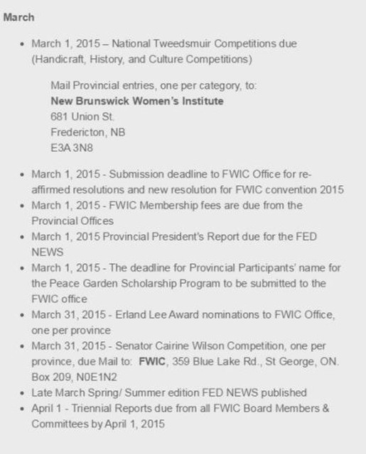 March 2015 Deadlines