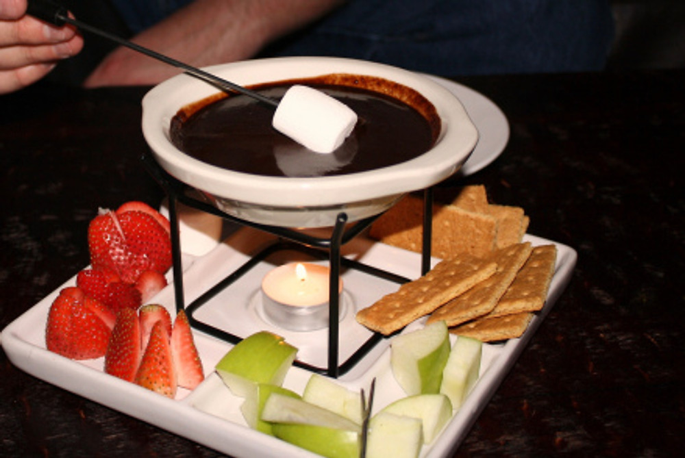 Chocolate fondue image - click for source.