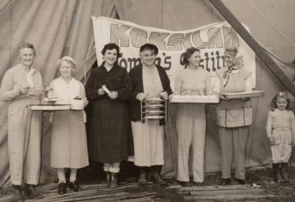 Members of the Koksilah Women's Institute during the 1960s. This photo was possibly taken at the ploughing matches. Left to right, tentatively identified: Edith Vaux, Janie Evans (James), Miss Reid, Mrs.William Chester.— Image Credit: Courtesy Cowichan Valley Women's Institute