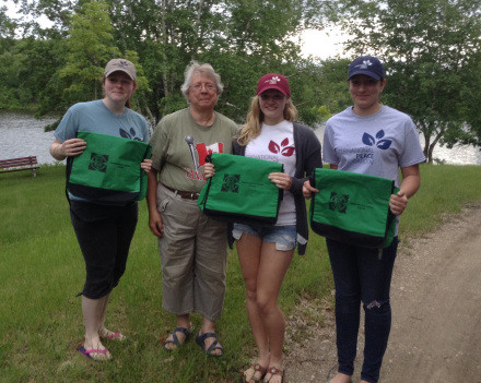 FWIC Ann Mandziuk (Manitoba) with Peace Garden scholarship recipients at the Gardens.