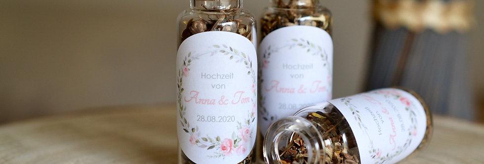 Blumensamen als Gastgeschenke - Anlass + Name(n) + Datum