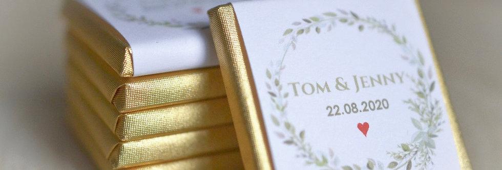 Schokolade als Gastgeschenke + Namen + Datum