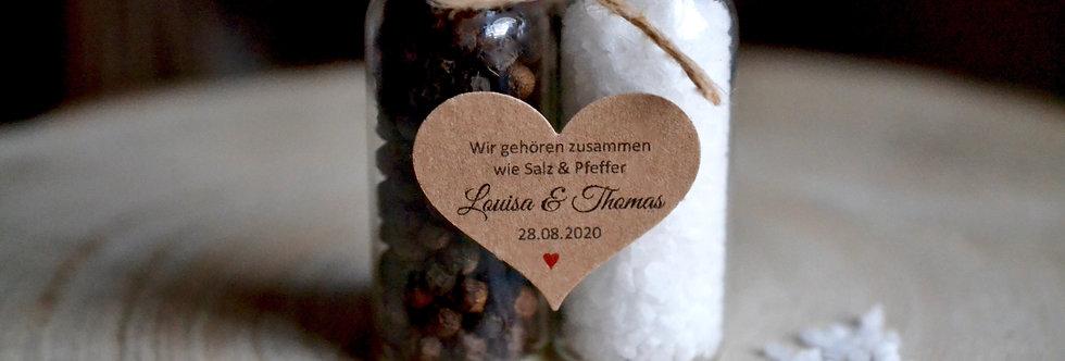 Personalisierte Gastgeschenke zur Hochzeit - Salz und Pfeffer