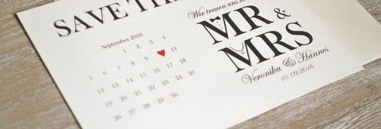 Save the Date Karten - Mr & Mrs zur Hochzeit