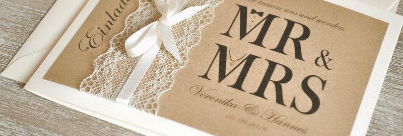 Einladungskarten zur Hochzeit (Modell Mr & Mrs) vintage