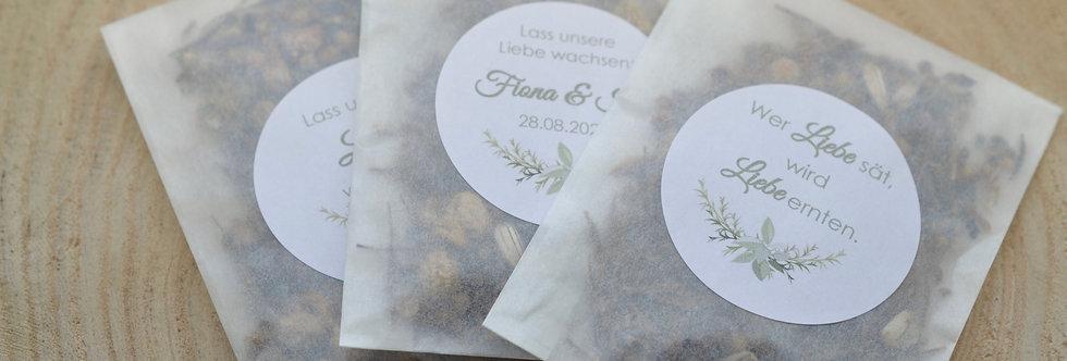 Blumensamen als Gastgeschenke zur Hochzeit