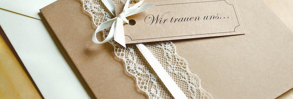 Einladungskarten zur Hochzeit quadratisch vintage