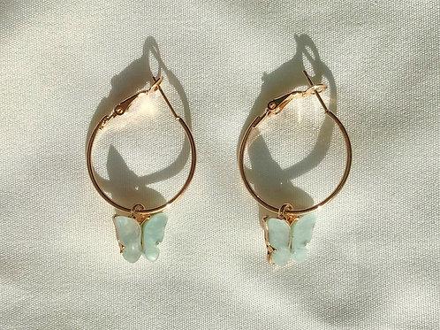 Mariposa Teal Hoop Earrings