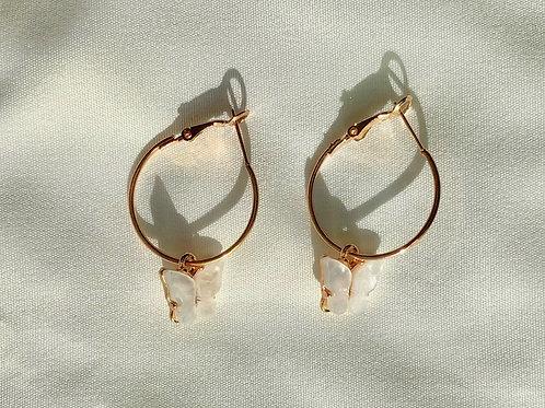 Mariposa White Hoop Earrings
