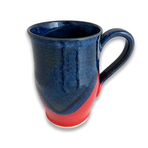 Red & Dark Blue Stoneware mug