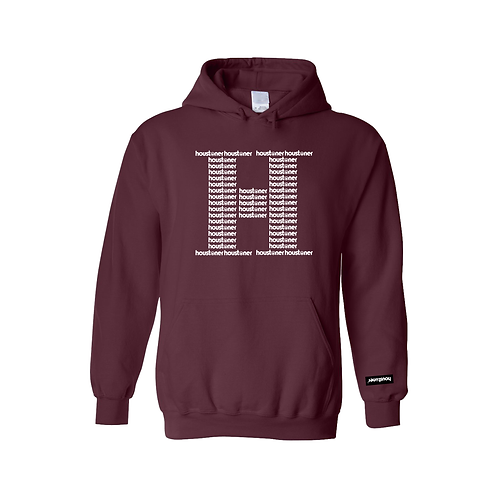 Maroon H for Houstoner Hoodie Front View