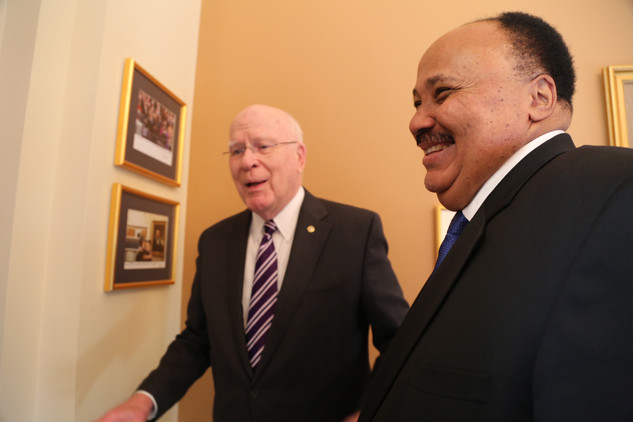 Martin Luther King III and Senator Leahy at Capitol Hill office