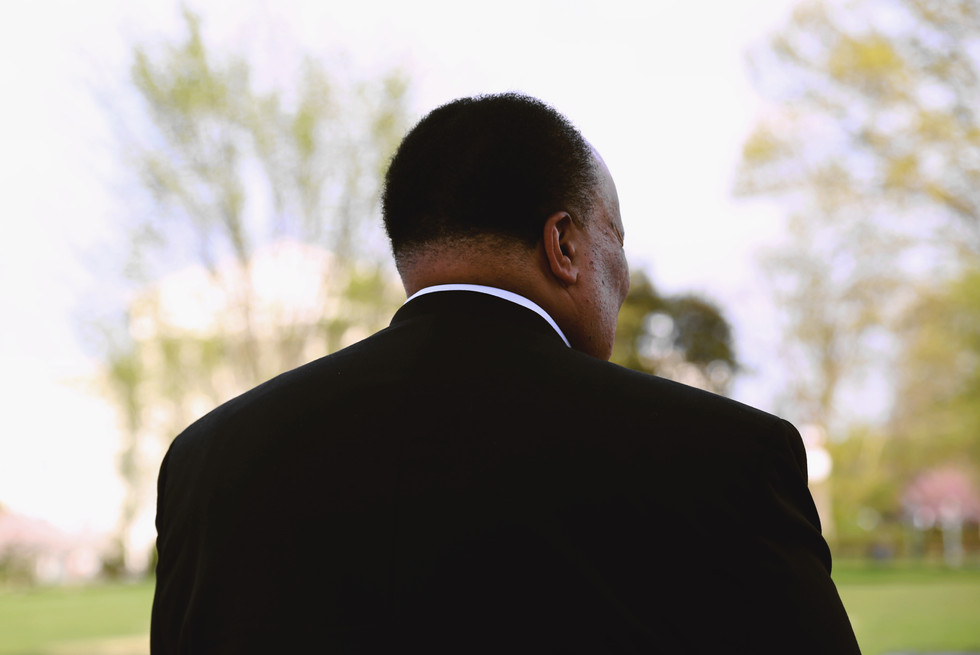 Martin Luther King III reflects outside of US Capitol