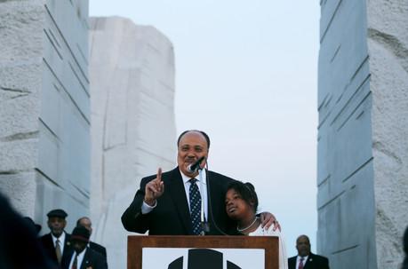 King and his daughter Yolanda speaking in Washington, D.C.