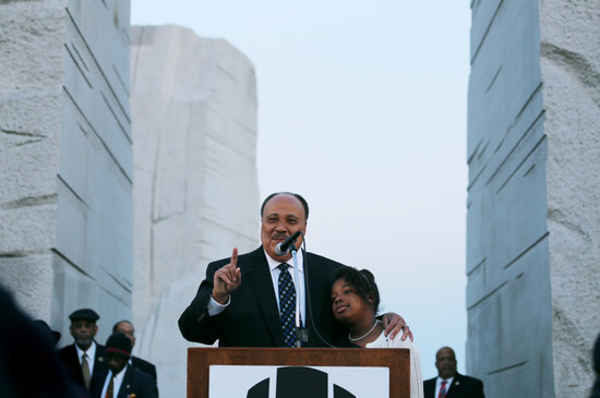 King and his daughter Yolanda speaking in Washington, D.C.