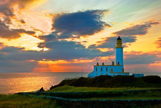 The Iconic white Turnberry Tower Lighthouse at sunset