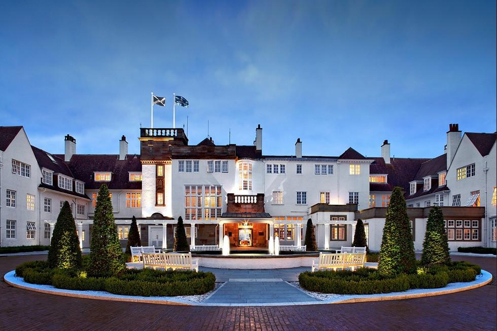 Grand luxury golf resort entranceway Trump Turnberry