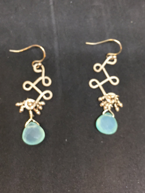 Lorraine Frances Aqua Crystal Earrings