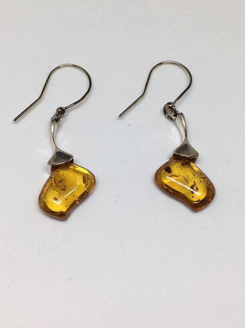Honey Amber Sterling Silver Earrings