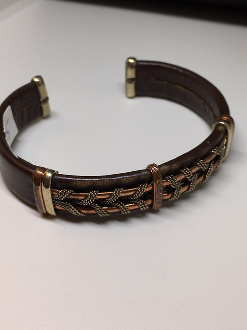 Brown Leather & Mixed Metal Cuff Bracelet