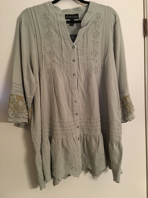 Gretty Zueger  Sage Green Buttoned Tunic