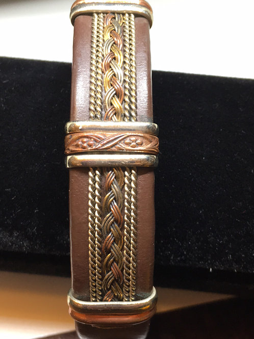 Brown Leather Mixed Metal Cuff Bracelet