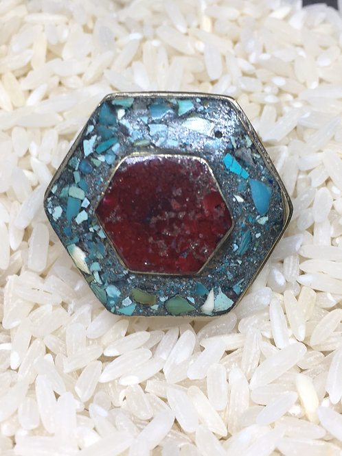 Coral & Turquoise Ring in Silver Alloy