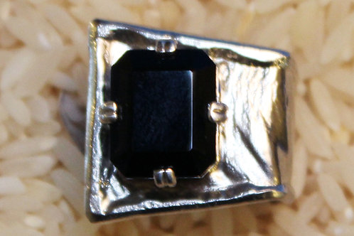 Shell-Bell Designs - Square Onyx & Reticulated Sterling Silver Ring, size 8