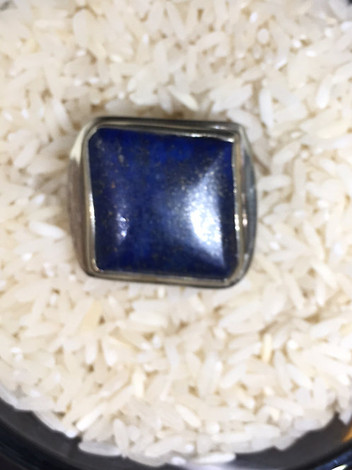Blue Lapis Ring in Silver Alloy