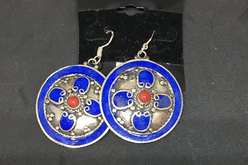 Treasures of Tibet - Lapis & Coral earrings