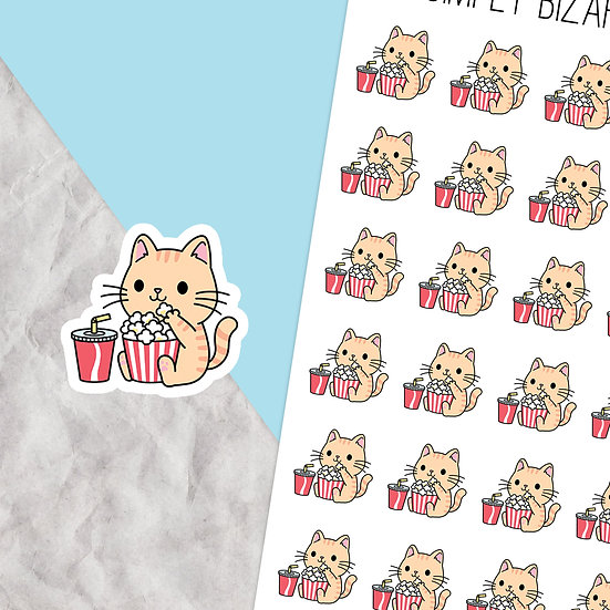 Movie Night Cat Planner Stickers