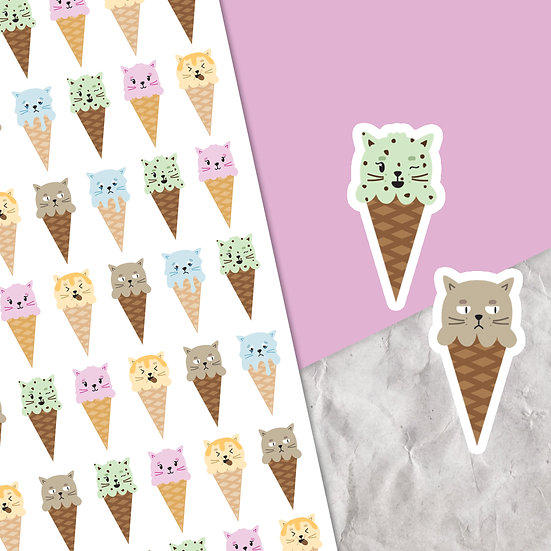 Kitty Cone Stickers