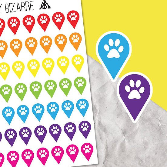 Paw Print Teardrop Location Stickers