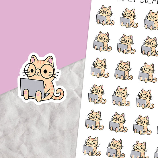 Laptop Cat Planner Stickers