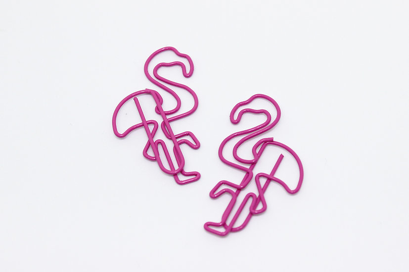 2 pack - Bright Pink Flamingo Paperclip