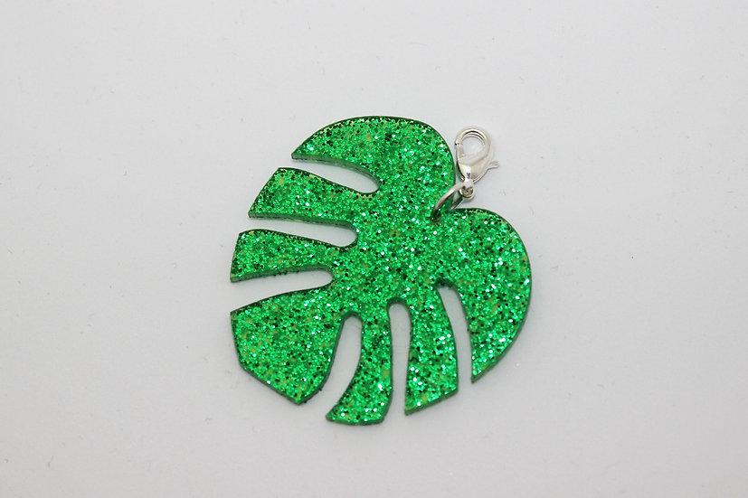 Glitter Tropical Leaf Planner Charm