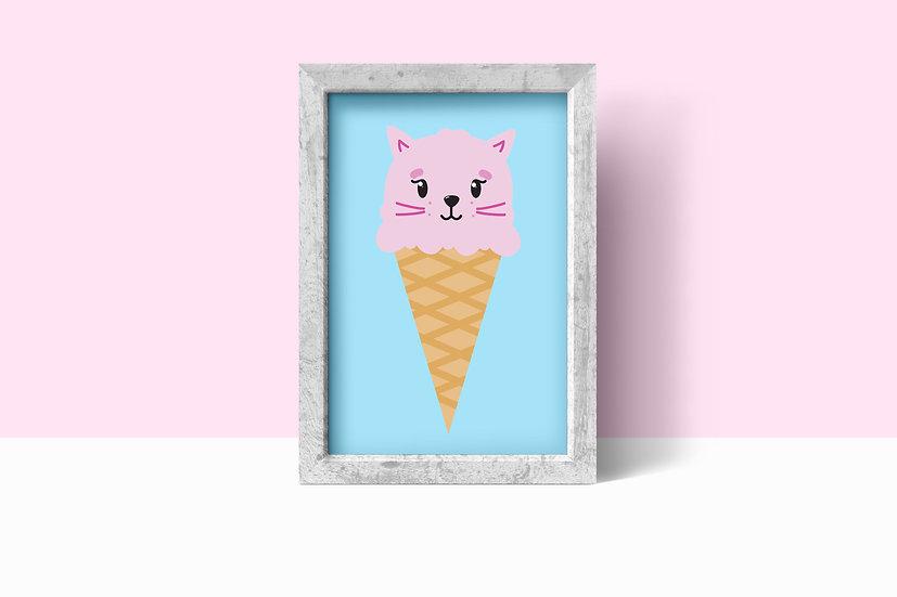 Flossy Kittycone - A4 Art Print