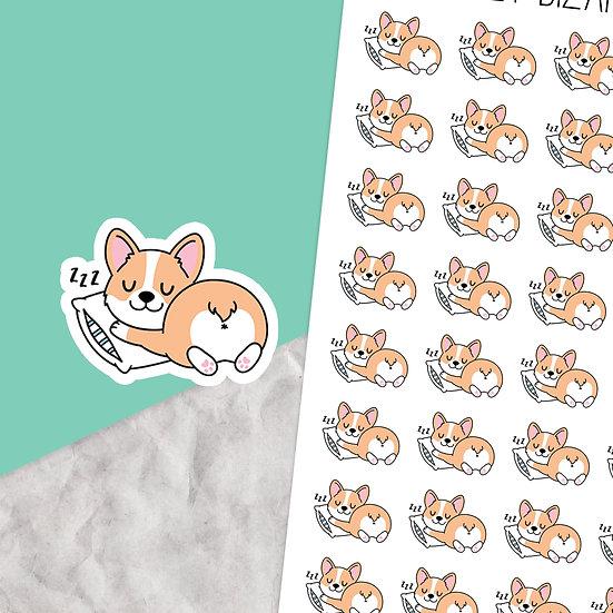 Sleeping Corgi Planner Stickers