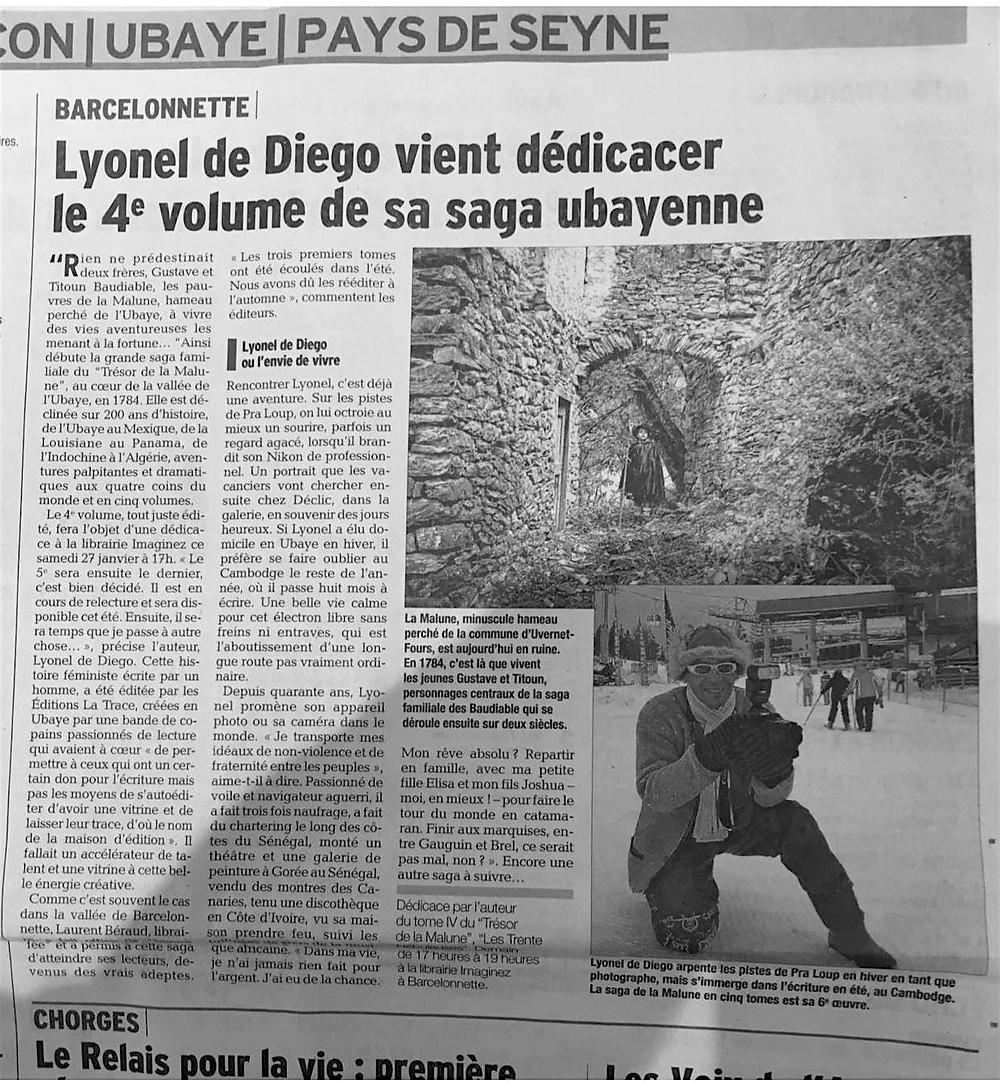 Dédicace du roman de Lyonel de Diégo Le Trésor de la Malune : Vif Succès !