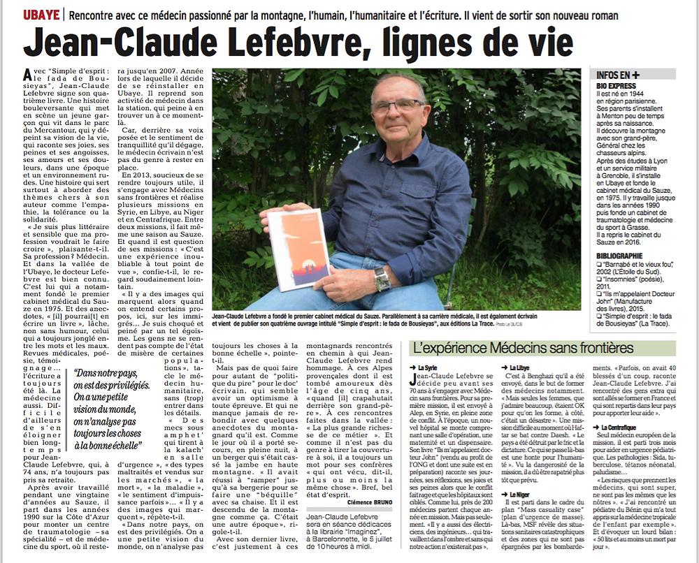 Article Dauphiné 2 Juillet _jean-Claude Lefebvre