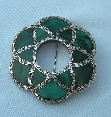 Antique Scottish mlachite brooch