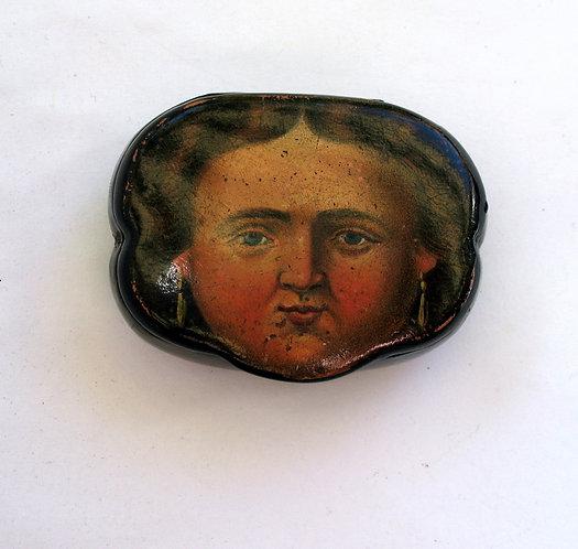 Snuff box, papier mache, French cir 1880 F105