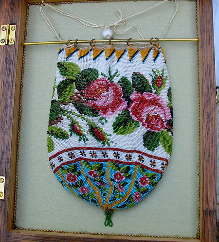 Rose bordered beaded bag