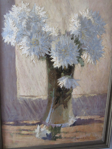 White flowers in a vase, oil painting on canvas