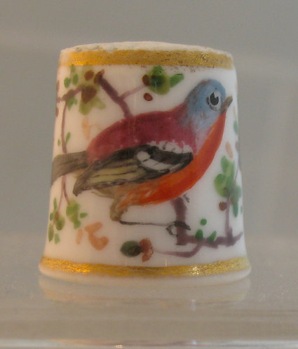 Porcelain thimble with hand painted chaffinch