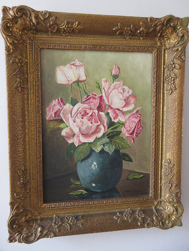 oil painting, pink roses in a vase.