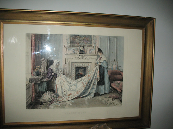 Victorian print of mother and daughter sewing a quilt.