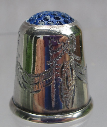 Silver thimble, blue glass top, Scandinavian