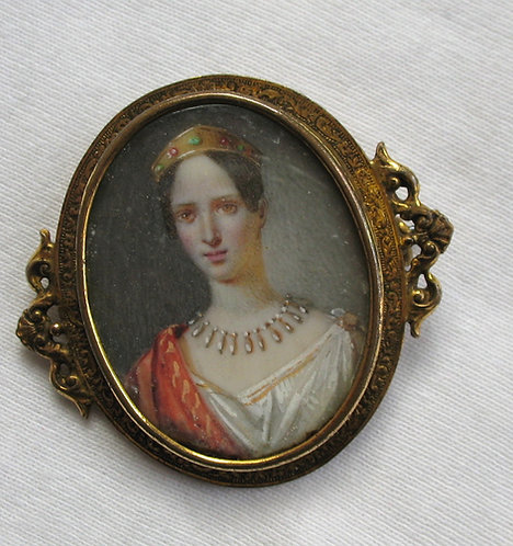 Miniature painting of a young lady worn as a brooch